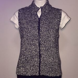Talbots zipped black and white vest sweater
